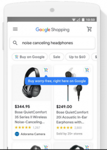 Google Shopping Actions on a mobile device